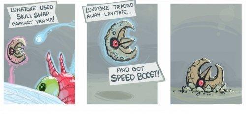 Skill Swap. .. Lunatone Praise the Solrock Pokemon lunatone Yanma levitate ability Speed Boost