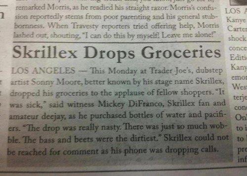 Skrillex, you so silly. .