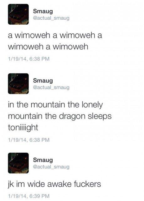 Smaug. not made by me but enjoy!. Smaug actual a wimoweh a winnower a wimoweh a winnower Smaug in the mountain the lonely mountain the dragon sleeps Smaug among