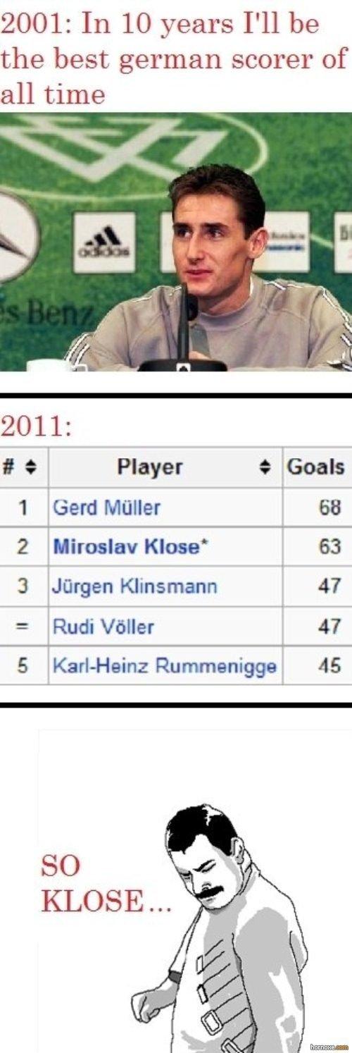 """So Klose. mal gucken obs hier deutsche gibt ist nicht meins :s. 2001: the best german scorer of 2011: I at Player t 1 miller i,, tital 2 Klose l 63 3 """"Jager, TI"""