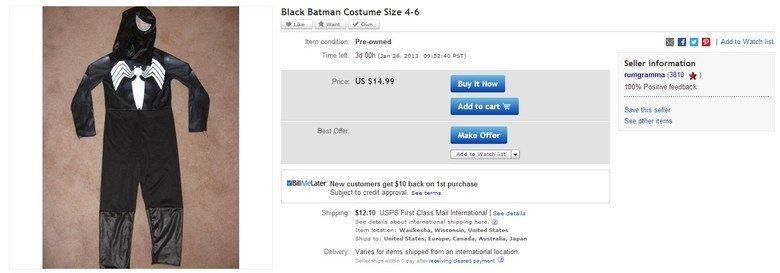 Some people deserve to die. If u think it's fake check here www.ebay.com/itm/Black-Batman-Costume-Size-4-6-/300838841999?pt=US_Costumes&hash=item460b646e8f. Bla