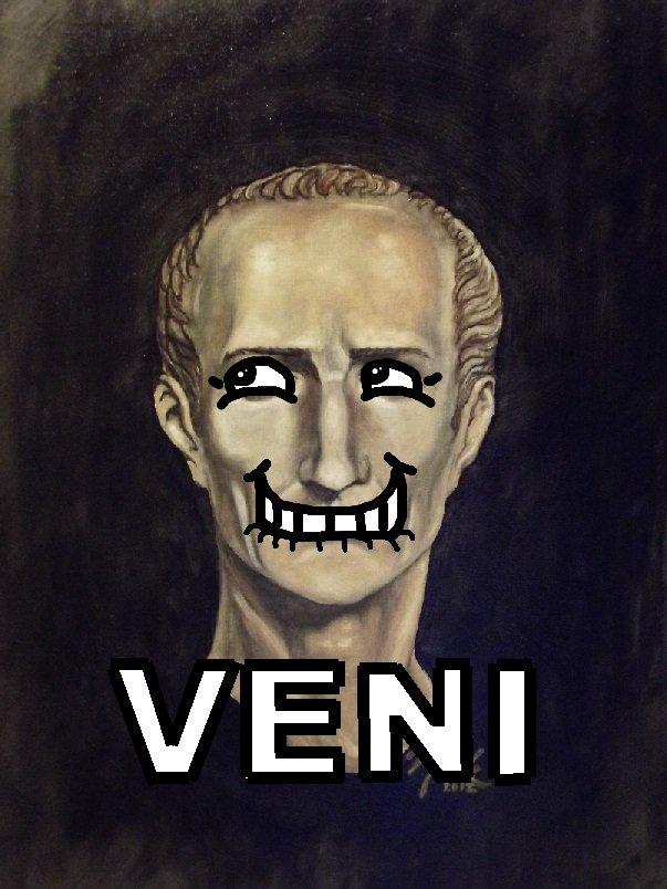 Somebody Caesar'd his salad.. Hint: Veni Vidi Vici = I came, I saw, I conquered... Explanation in description ruined it. julius caesar rome splooge