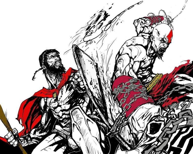 spartan vs. spartan 2. round two.. you needa put masterchief in there Leonidas Spartan Kratos
