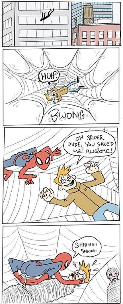 spider-man dump below. . Hoo Sng!! ME! awakens!. wut