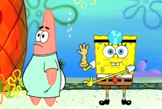 Spongebob looks pleased. Patrick finally agreed..... and thats what spongebob said booty rockin errwhere