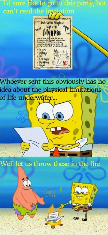 Spongebob's laws of physics. . spongebob physics laws