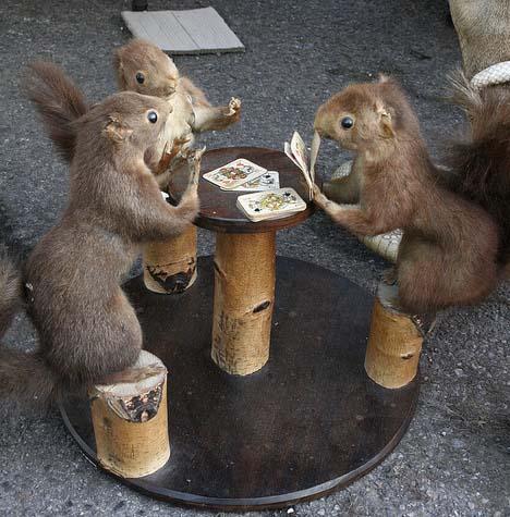 Squirrels Playing Poker. .. I'll raise you one peanut