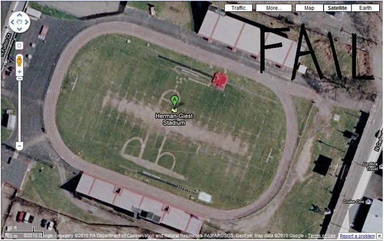 Stadium FAIL. Herman-Giest Stadium, Hazleton, Luzerne, Pennsylvania 18201 <br /> in Google Maps<br /> zoom in a few times<br /> then change ma Penis Stadium