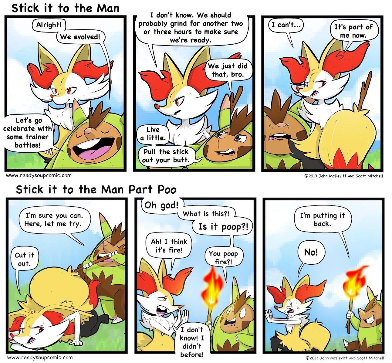 Stick it to the Man. Source: www.readysoupcomic.com/. braixen quilladin poop fire Pokemon