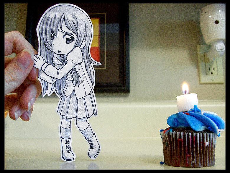 Still Afraid. Found here --> Looks like some things are hard to let go of .. MFW Hanako's path Katawa Shoujo Hanako papercraft cupcake
