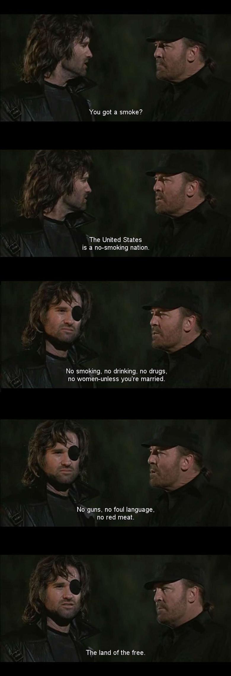 Stoner future. . You got a smoke? The United States is a nonsmoking nation. No smoking, no drinking, no drugs, no you' re married, No guns, no foul language, no