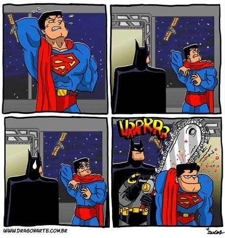such a nice guy. . batman Superman back scrach funny