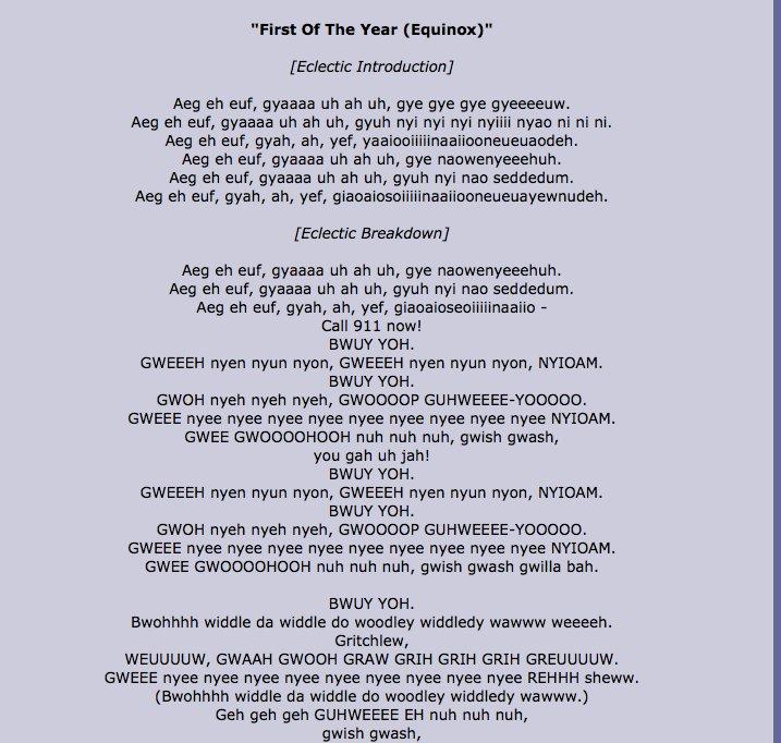 Such Inspiring Lyrics. I tear up every time.. First of The Year ' Edema ] Aeg eh euf, wecan uh ah uh, we we we . Aeg eh em', wane uh ah uh, grub m m. lie; eh em Gweh weh wop
