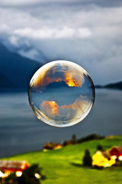 Sunrise on a bubble. Pretty beautiful.