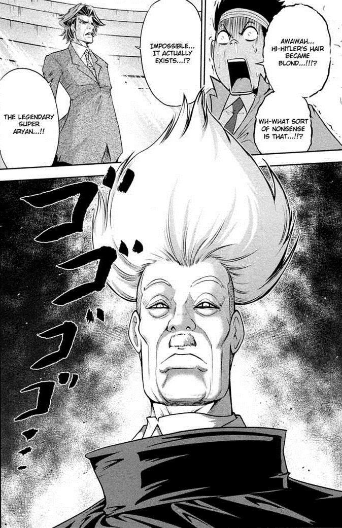 Super Aryan Hitler manga. Hitler uses the Legendary Super Aryan power. From the manga Mudazumo Naki Kaikaku. The worst manga I've ever read, but it has it's mom
