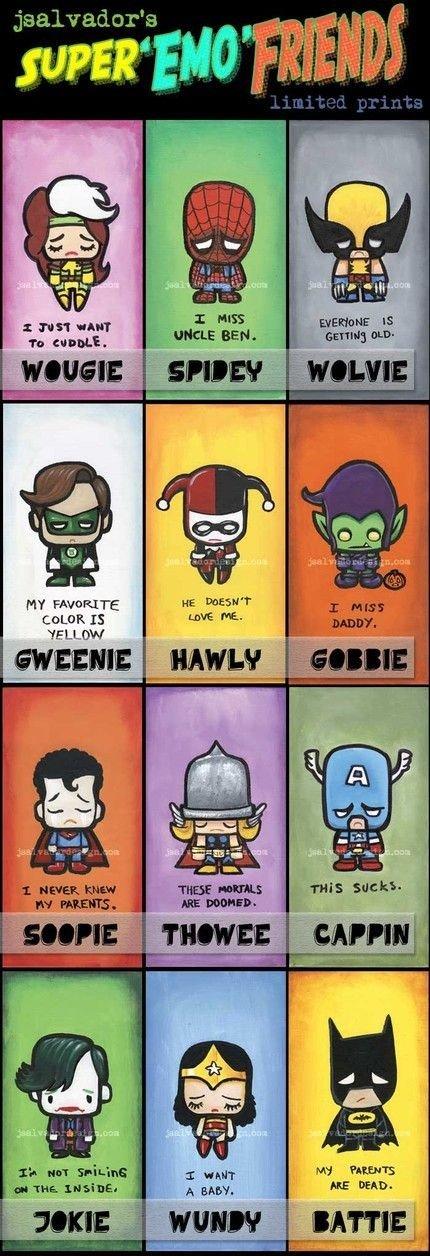 Super Emo Pals. All you favorite super emos, please rate!.. Chibi emos Harley Quinn! : D