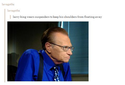 Suspenders. . larry lg spenders to keep hi 5 shoulders from floaty lg away. he looks like a vulture