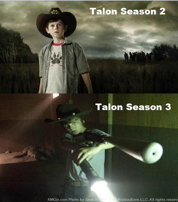 Talon = Carl Season 3. Talon and Carl both OP season 3.. Who the hell is Talon? league of leagen Talon Season Three the walking dead