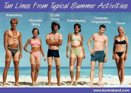 Tan lines. THUMB!!!. 7. -Saw Lites From iii/ tiia/ Activities Waterskiing SCUBA aliving. wanna see my tan lines? Tan lines