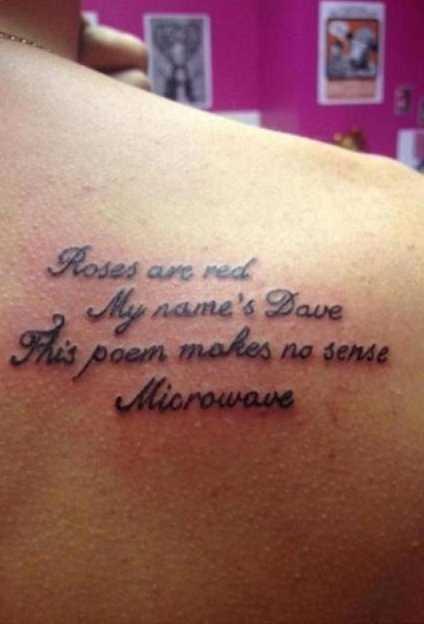 Tattoo. .. Everyone below me is a faggot.