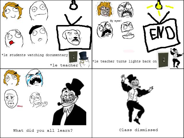 Teacher Turns On Lights. .. ile students Hatching documentary. teacher 'i? fl Lt: 1 Eran all aea: trna Class '