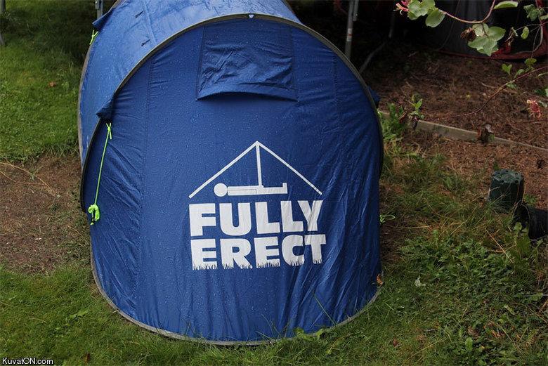 "Tent. . Kuv aic) N. cam.. heh... heh... ""pitching a tent..."""