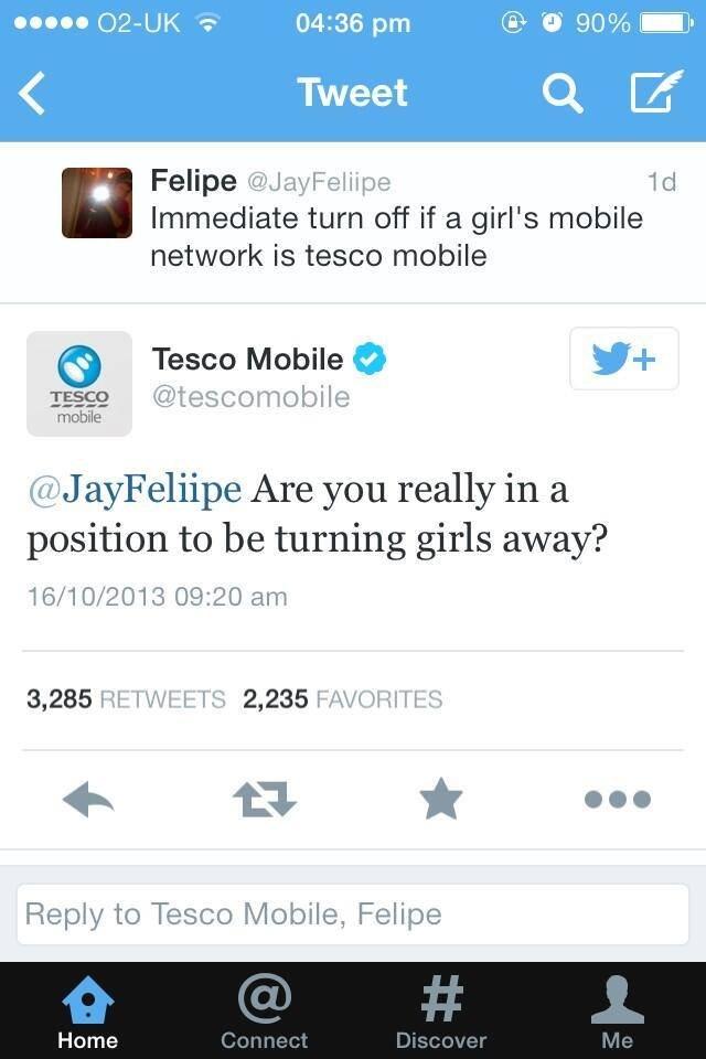 "Tescowned. Source: Twitter twitter.com/JayFeliipe. XXIX] kai' 04: 36 pm tig 'frsit 90% fl- Tweet ""sito., E Felipe @darf% liife Immediate turn off if a girl' s m"