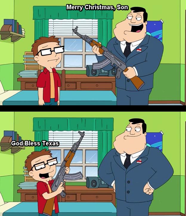Texas, Fuck Yeah. Gun, Guns, Guns. L as lss Texas. Dammit, Steve, trigger discipline!