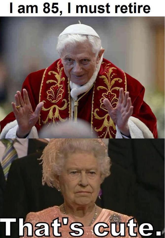 that's cute. . I ] 85, I retire. elizabeth is 86