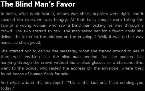 The Blind Man's Favor. .