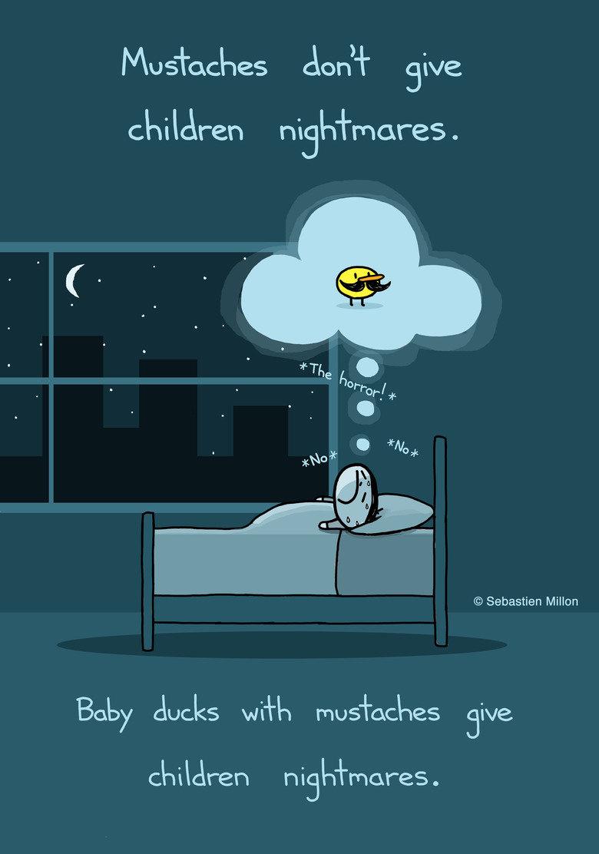 """The Duckmare"". . No supes Jon' -) Siva nighmares. Sebastien Millon Baby ducks w/ l, r, jive mores ."