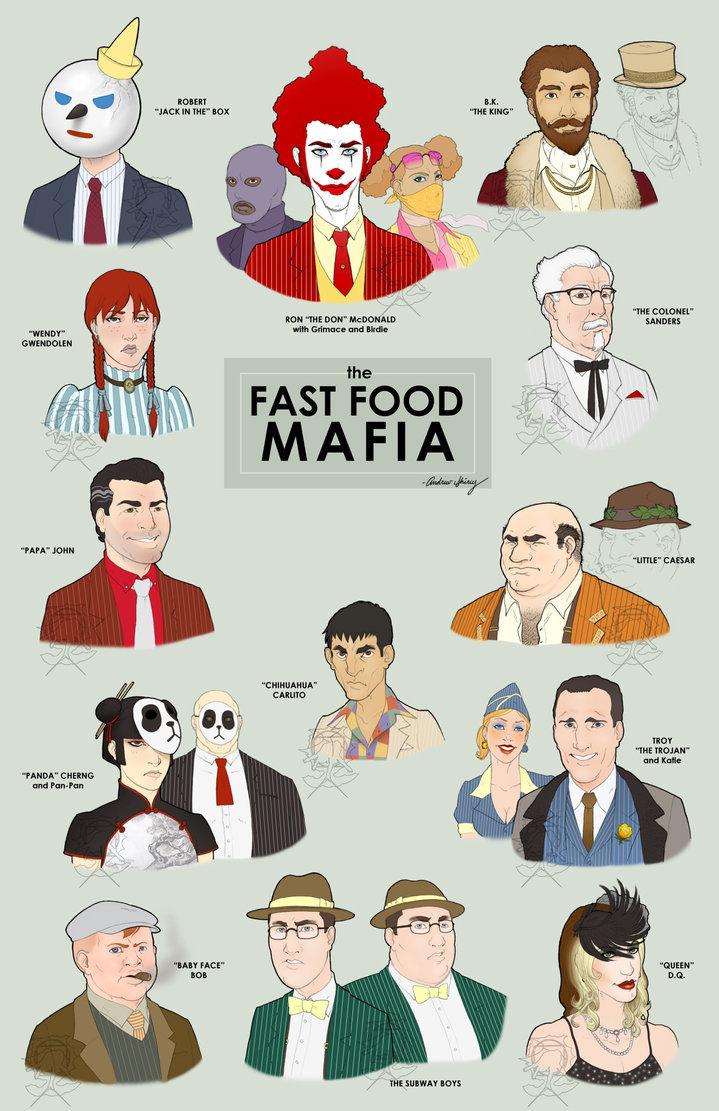 "The Fast Food Mafia. . HRH] IAEA. Rik"" man me swans FAST 'FOOD PAPA"" JOHN tait"" ME TROJAN' trod Kill PANDA' CHANE- mnd IDAFT FILE!' I EDT!. No one with Ronald."