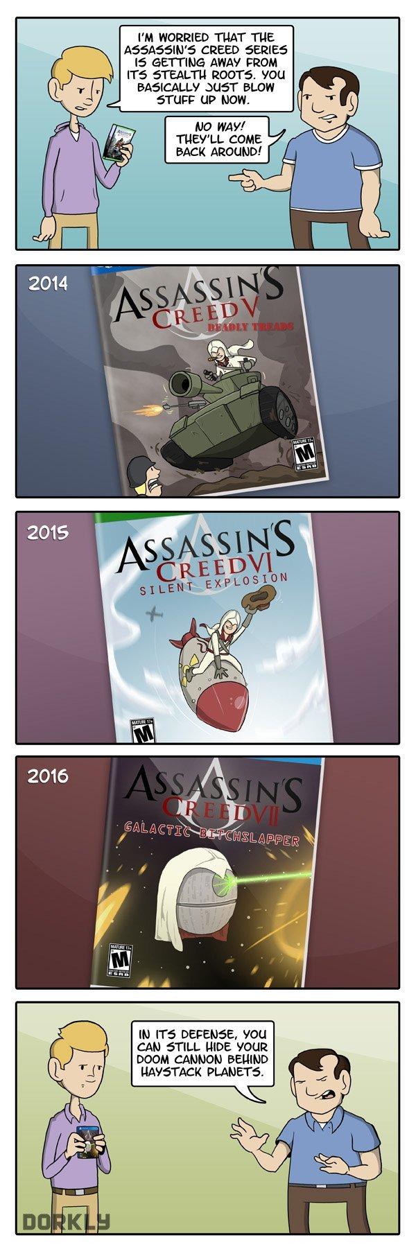 """The Future of Assassin's Creed. . PM THAT TUE ASSASIN' {REED teii t! arrt"""" raa AWAY FRAM querr BLUFF STU"""" LIP HUN. IN rrs , 'FEM CAN STILL HIDE VGUI DOOM IMBHDH"""