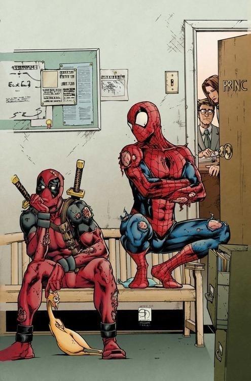 The Great Dedpoolio. .. Amusement not detected. comics Deadpool Spiderman Chicken