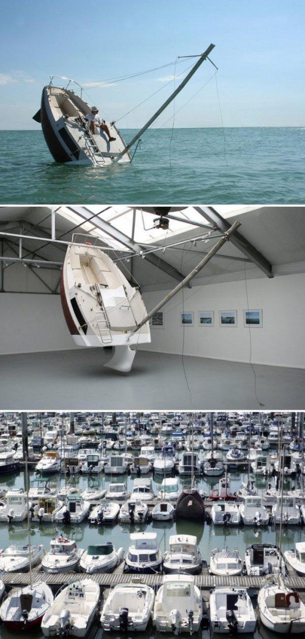 The fake Capsizing boat Trolls the Seas. .. The Titanic model? No? You sure?