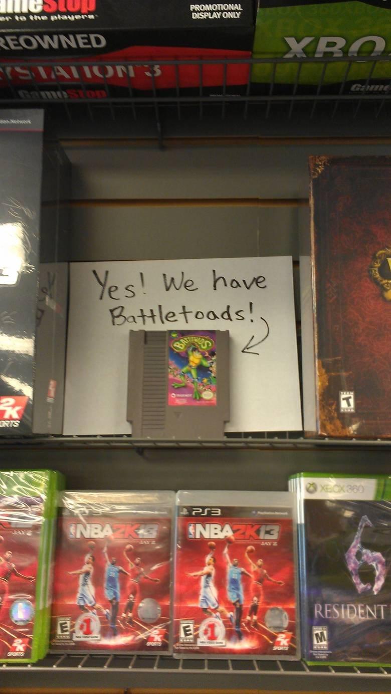 There's a GameStop that has Battletoads!. .. Skyrim battletoads