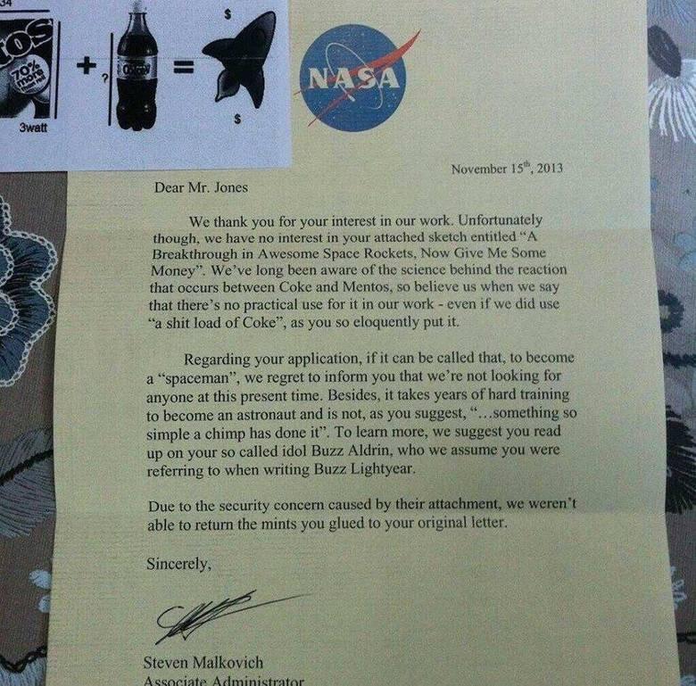 "They didnt like my new rocket proposal. . November , we Dear Mr. Jones We; thank . U. fer year interest in our work Unf' . ta"" tely thathigh, we hawtt :. y.. is"