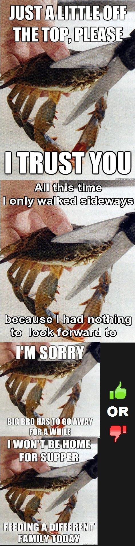 This Kills The Crab. Sad Crab or This Kills The Crab complication. sad crab this Kills the