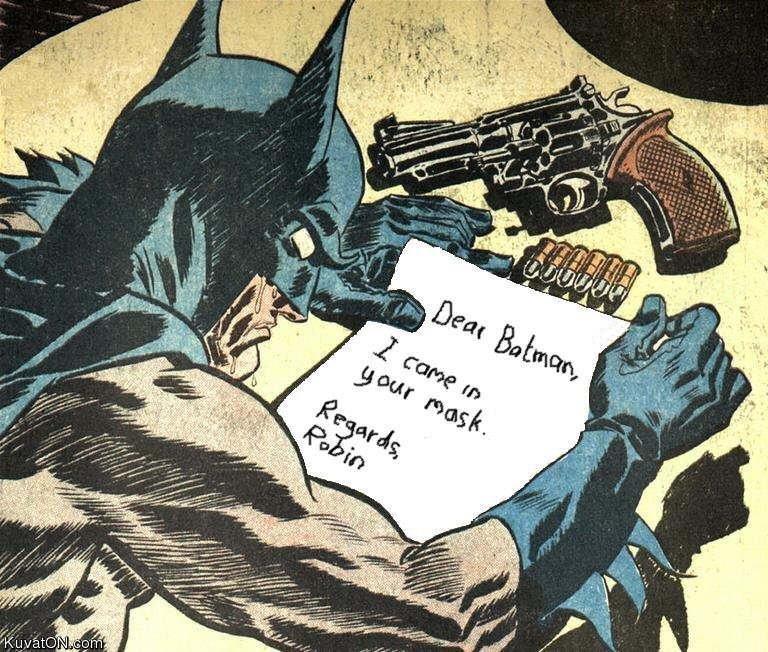 title contains tit :). The gun will come in handy. batman jizz
