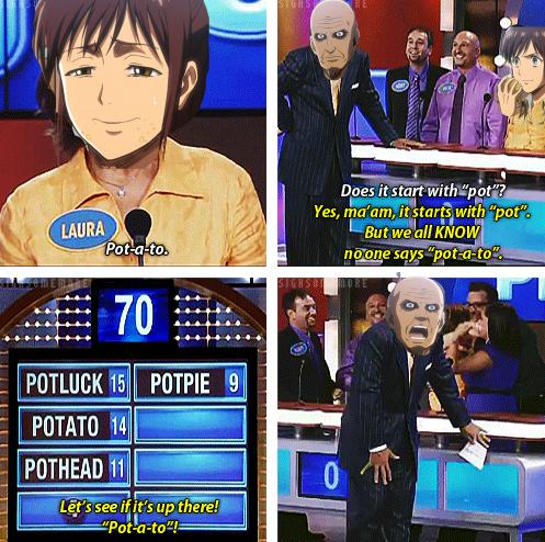 "Title. Anime is ""Shingeki no Kyojin"". Yes, tha' am, twitard? with ""pot"", ,"