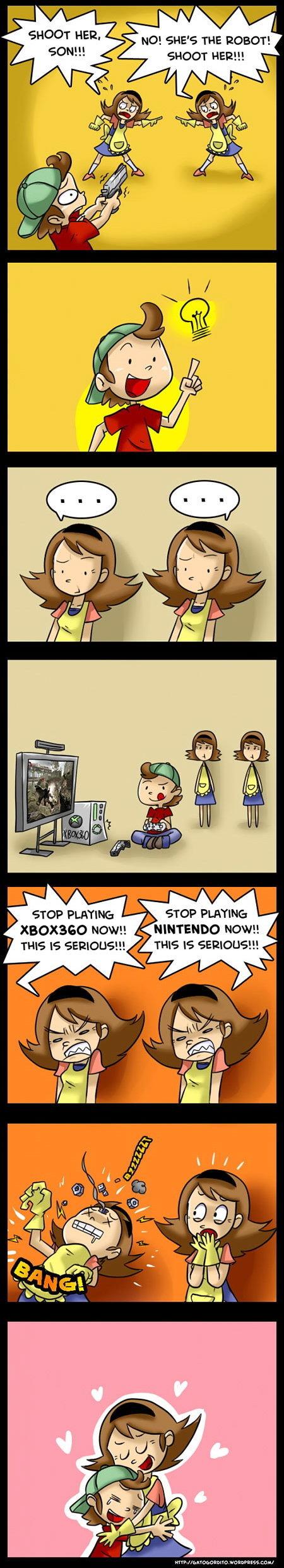 Title. . NO! tittys THE ROBOT! SHEET HER!!! b STOP PLATINA: ', 9, STOP PLAYING: