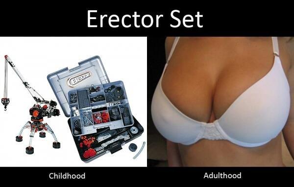 titlties needed. . Erector Set Childhood Adulthood