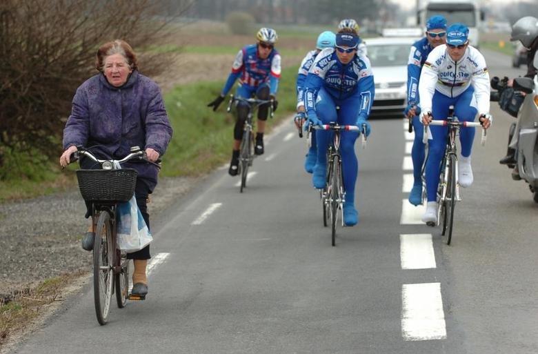 Tom Boonen (world champion) on the right. .
