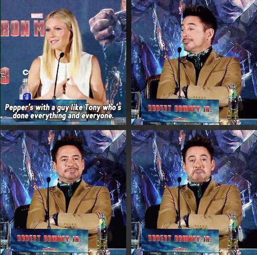 Tony Stark. tags used right. iron man tony stark Pepper Potts Robbert Downey J Gwyneth Paltrow Interview