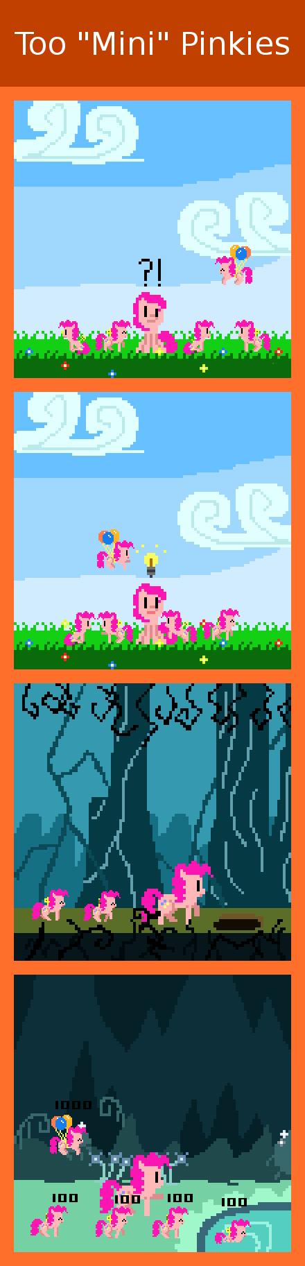 "Too ""Mini"" Pinkies. via zztfox.deviantart.com/#/d5o2g7yfun Pinkie disposes of her Mini clones the Mario vs Donkey Kong way! MLP FiM and Pinkie Pie copyright Fau My Little Pony Pinkie retro pony pixel Mario Nintendo comic"