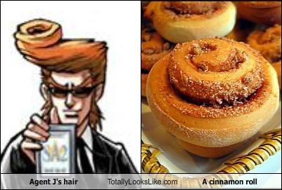 totally looks like. . Hair Food Agent J cinnamon roll