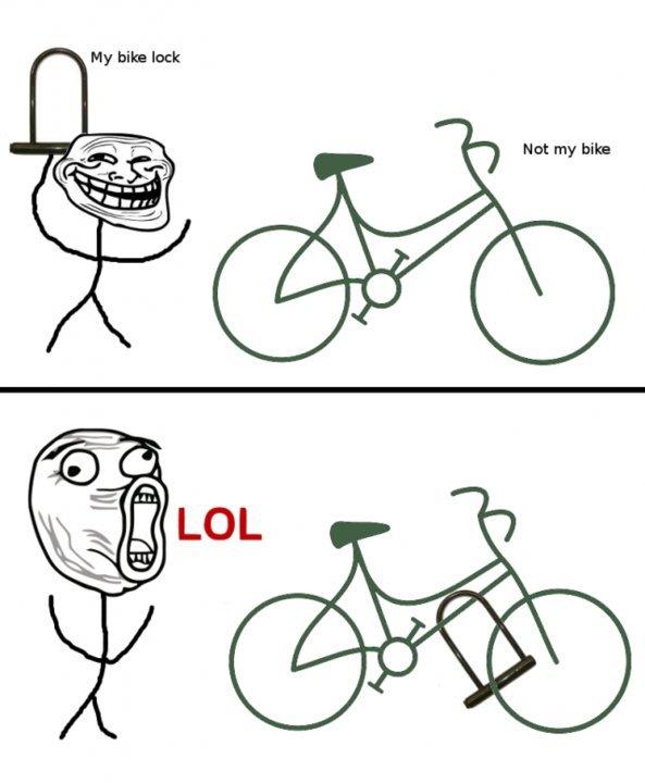 trollin the bike rack. .. LOL! XD