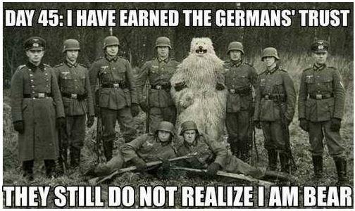 "trust worthy. . BM "" I Milt) ERNIE THE TENT miring, ' ll, NOT Lait HIM BEAR bear war soldier"