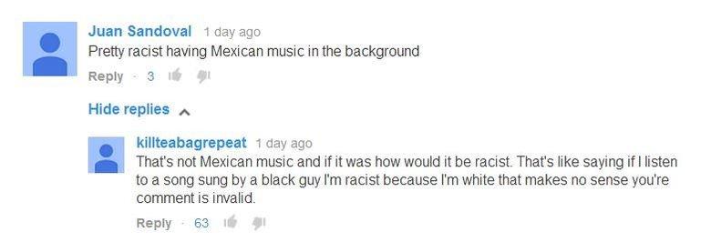 (untitled). www.youtube.com/watch?v=XvYzRtTagqA&list=UUzH3iADRIq1IJlIXjfNgTpA sauce.. Juan Sandoval 1 tloy ago Pretty racist having Mexican music in the backgro
