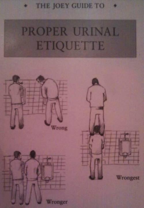 Urinal Etiquette. .